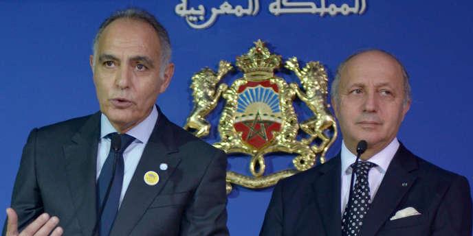 Le ministre des affaires étrangères français, Laurent Fabius, et son homologue marocain, Salaheddine Mezouar, le 14novembre2013 à Rabat.