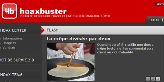 La page d'accueill de Hoaxbuster.