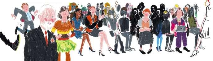 De gauche à droite, Eric Wilson, Colin McDowell, Cathy Horyn, Robin Givhan, Vanessa Friedman, Lynn Yaeger et Suzy Menkes.