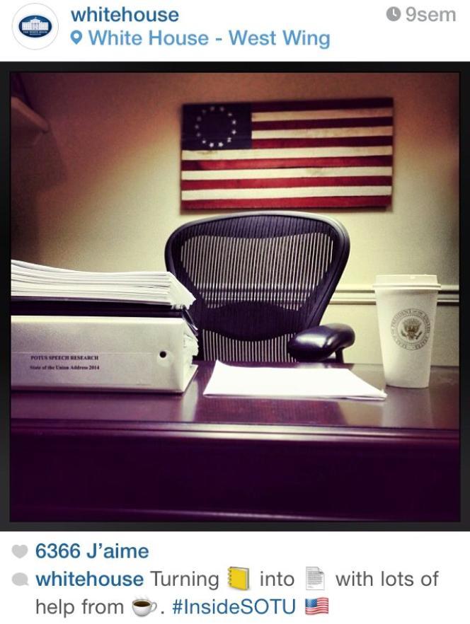 Message Instagram de la Maison Blanche, utilisant des emoji.