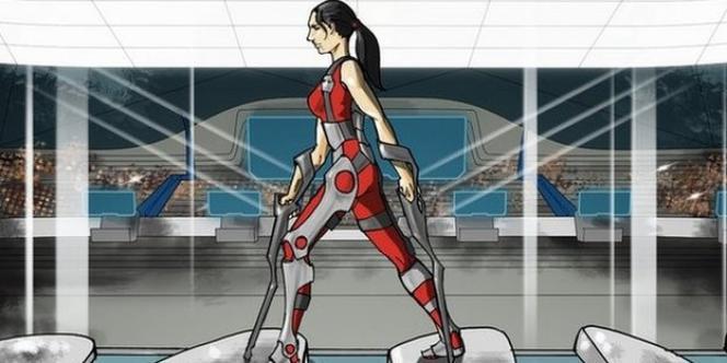 Capture d'écran de la vidéo de présentation du Cybathon, les premiers jeux paralympiques bioniques.