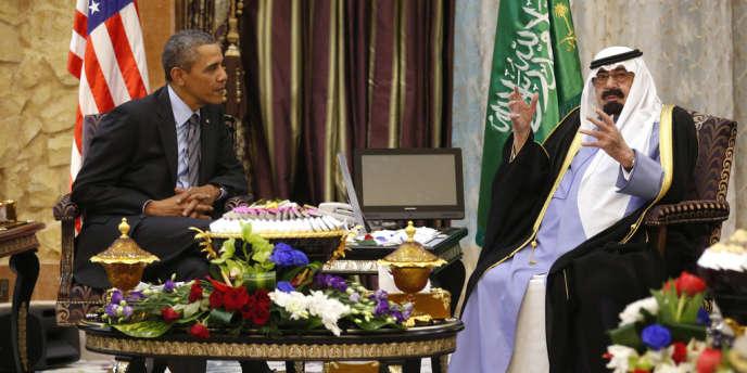 Barack Obama et le roi Abdallah à Rawdat Khuraim, à 60 km de Riyad, le 28 mars.