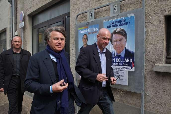 Gilbert Collard, à Saint-Gilles, le 30 mars.