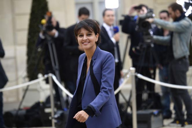 Najat Vallaud-Belkacem à son arrivée au conseil de ministres à l'Elysée, le 4 avril.