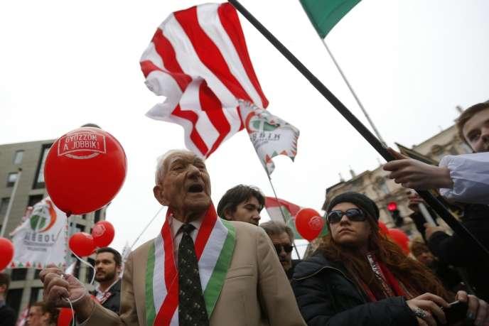 Rassemblement de partisans du Jobbik, le 15 mars à Budapest.
