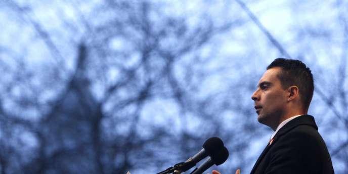 Gabor Vona, la tête de liste du Jobbik aux élections législatives, le15mars à Budapest.
