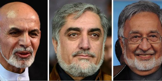 Les favoris de l'élection (de gauche à droite) : Ashraf Ghani, un économiste réputé, Abdullah Abdullah, opposant arrivé en seconde position lors de la présidentielle de 2009, et Zalmaï Rassoul, considéré comme le candidat du président sortant.