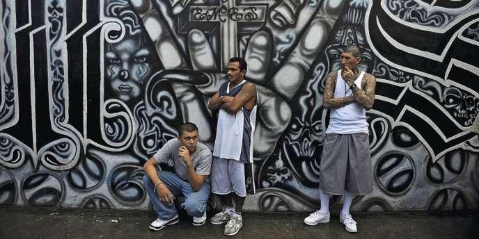 Des membres du gang Mara Salvatrucha à la prison de Ciudad Barrios, au Salvador. La garde civile espagnole soupçonne le clan de vouloir installer une section criminelle dans la péninsule ibérique.