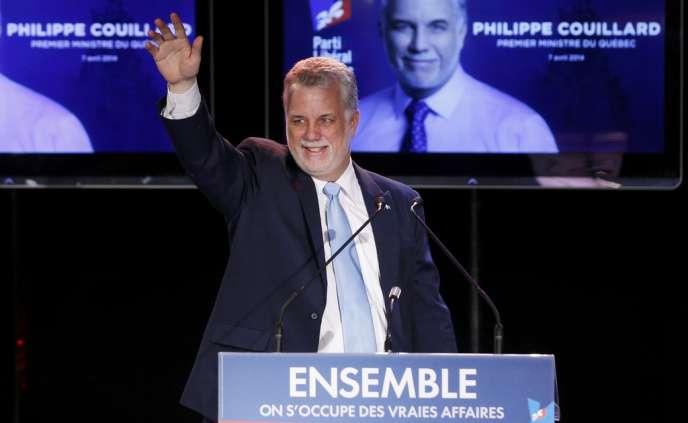 Philippe Couillard, chef du Parti libéral, le 7avril à Saint-Félicien au Québec.