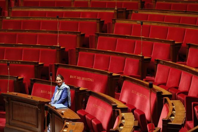 La ministre de l'écologie, du développement durable et de l'énergie, Ségolène Royal, dans l'hémicycle de l'Assemblée, le 8 avril.