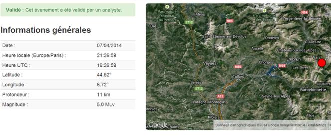 Les données du Réseau national de surveillance sismique concernant le tremblement de terre du 7avril.