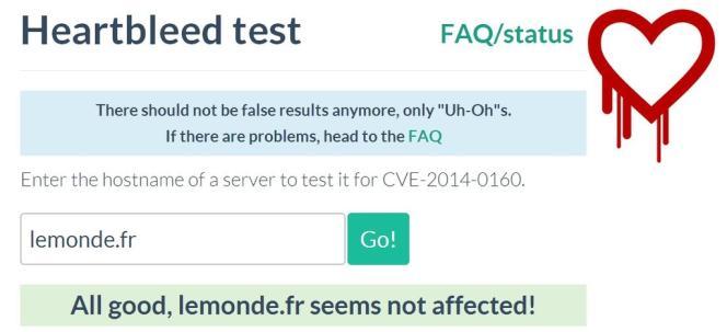Le site Filippo.io/heartbleed permet de tester si un site est vulnérable ou non. Ouf, nous sommes saufs.