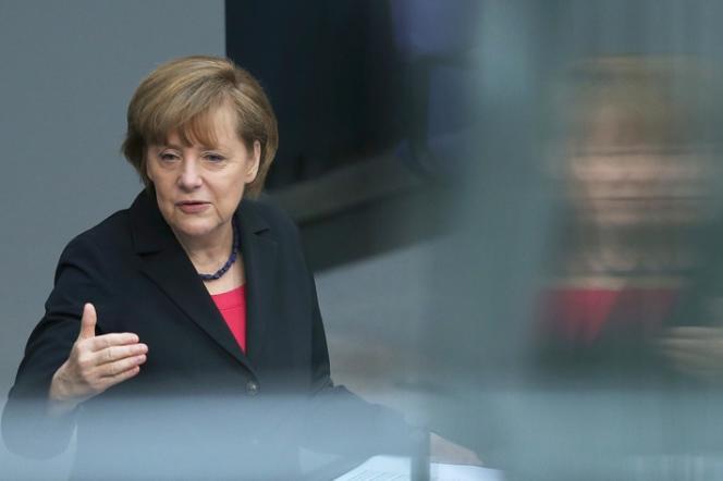 La chancelière allemande Angela Merkel au Bundestag, le 9 avril 2014