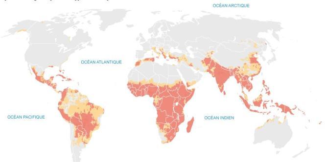 Carte des impacts du réchauffement climatique.
