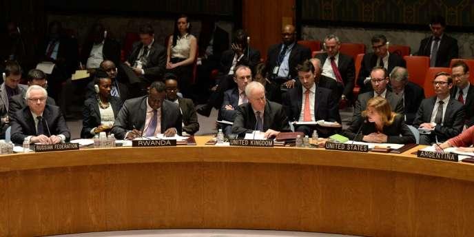 Lors de la réunion d'urgence de l'ONU à sur l'Ukraine, le14avril.