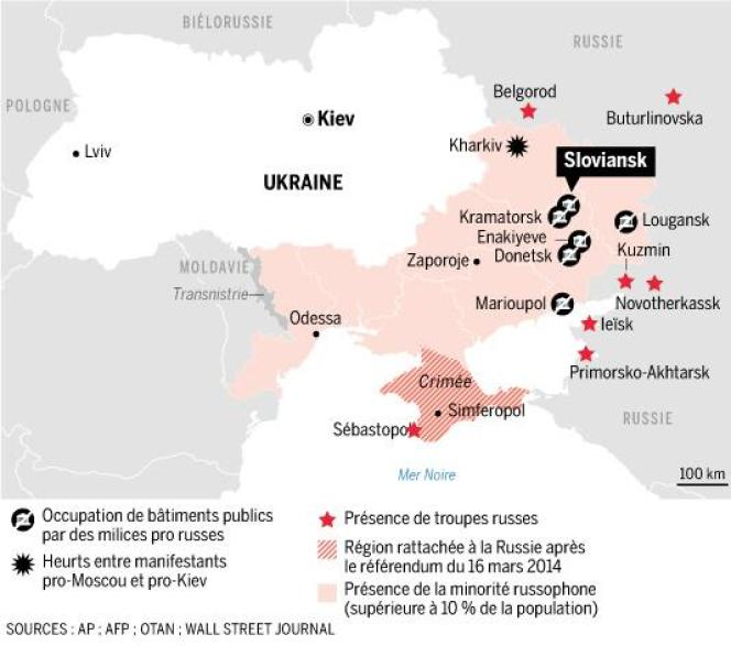 Les troubles dans l'est de l'Ukraine.
