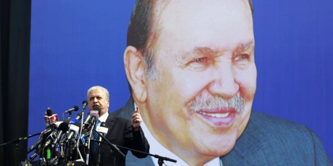 Abdelmalek Sellal, directeur de campagne du président soprtant Abdelaziz Bouteflika, en meeting à Annaba, le 12 avril.
