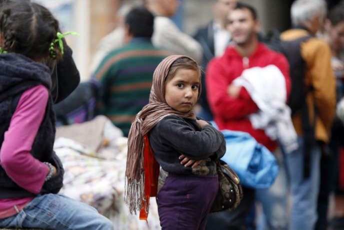 Démantèlement d'un camps de Roms à Evry (Essonne), le 27 août 2012.