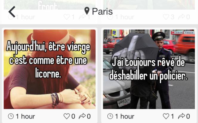 Exemple de messages Whisper postés à Paris, le 14 avril.
