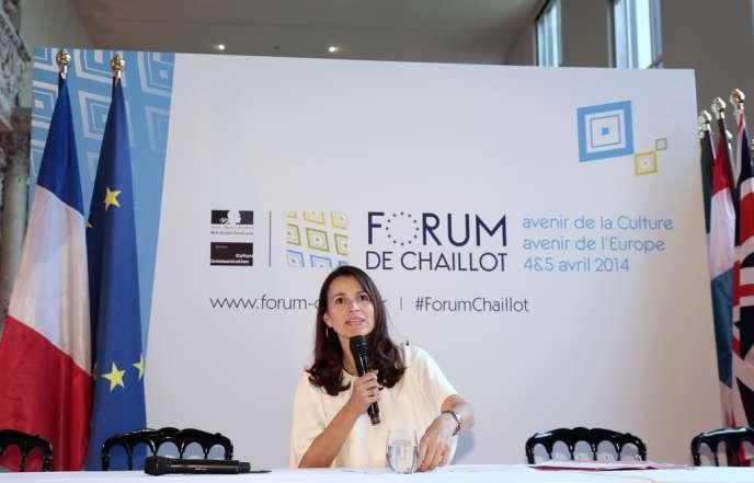 La ministre de la culture Aurélie Filippetti lors d'une conférence de presse au Palais de Chaillot à Paris, le 4 avril 2014.