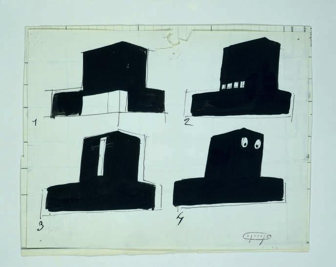 Jacques Lagrange, dessin pour le plateau de la villa Arpel dans le film de Jacques Tati