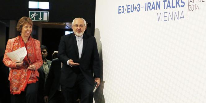 La haute représentante pour les affaires étrangères de l'UE, Catherine Ashton, et le ministre des affaires étrangères iranien, Mohammed Javad Zarif, lors des négociations sur le programme nucléaire iranien, à Vienne le 9 avril.