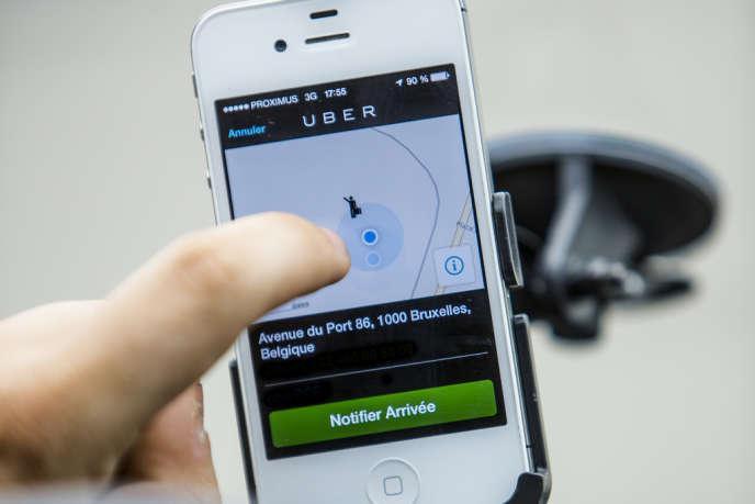 Application « Uber » sur smartphone.