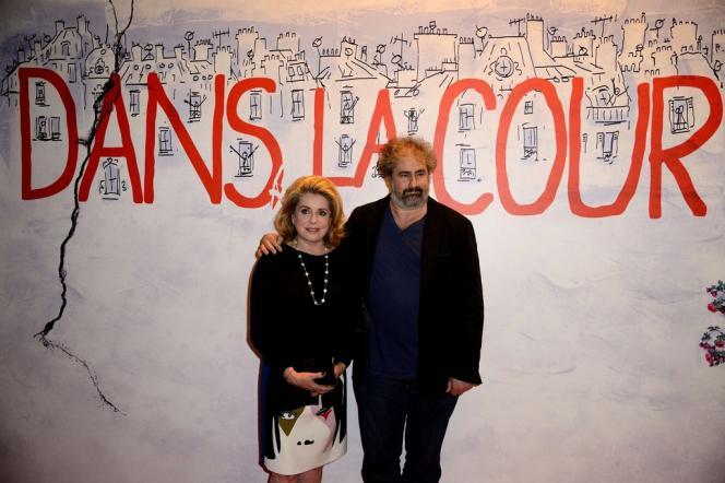 Catherine Deneuve et Gustave Kerven lors de la projection du film de Pierre Salvadori,