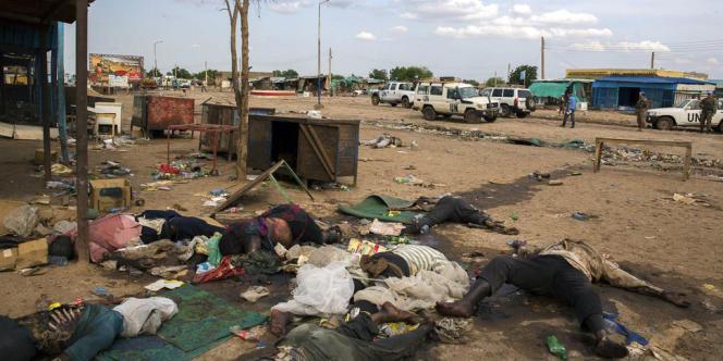 Des corps de civils massacrés le long d'une route de Bentiu, dimanche 20 avril.