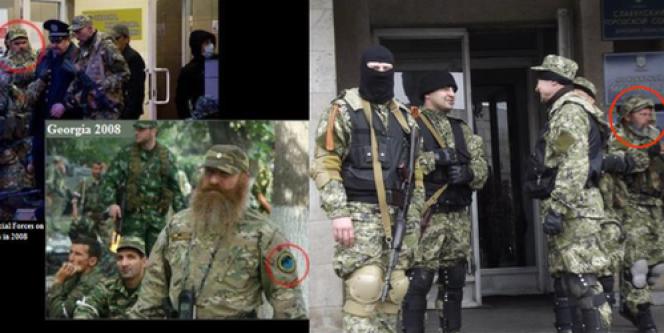 Des photographies diffusées par le département d'Etat américain présentant les séparatistes ukrainiens comme des officiers du renseignement russes.