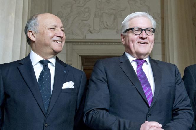 Le chef de la diplomatie française, Laurent Fabius, et son homologue allemand, Frank-Walter Steinmeier, le 1eravril2014.