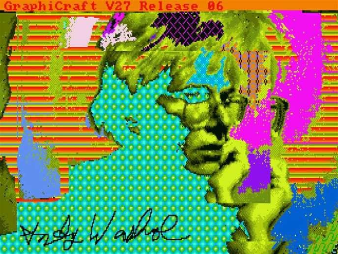 Une des œuvres numériques exhumées d'Andy Warhol, un autoportrait.