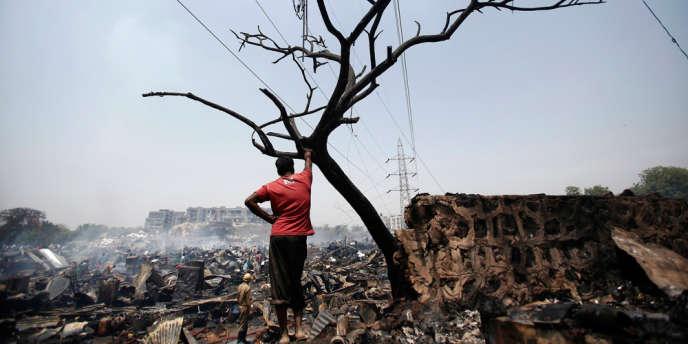 Un bidonville de New Delhi.