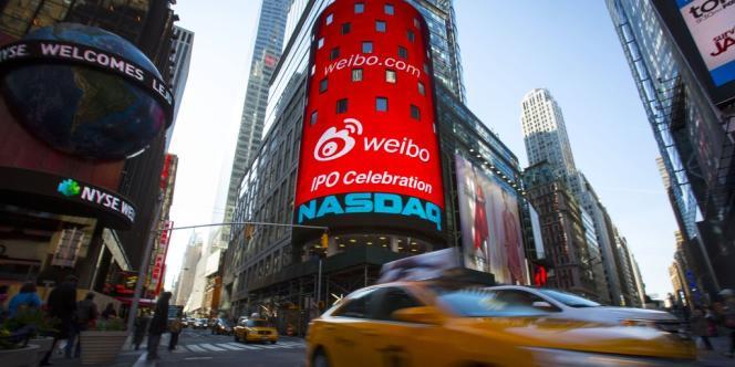 Le 17 avril, à New York, le jour de l'introduction sur le Nasdaq de Weibo, le site chinois de microblogging.