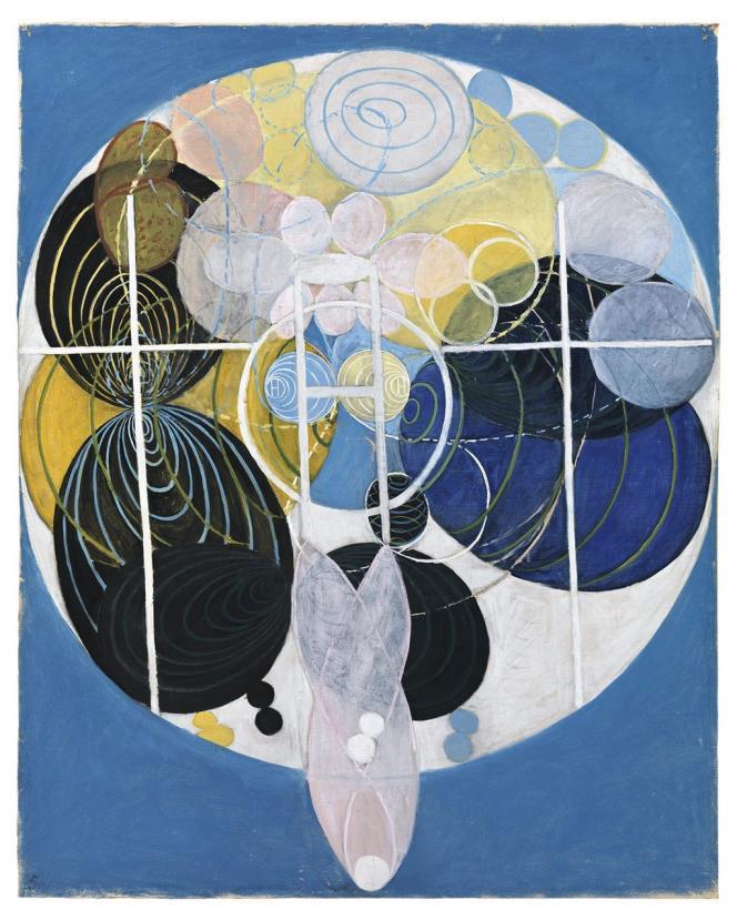 Hilma af Klint a dissimulé de son vivant le pan abstrait de sa carrière d'artiste. Ses oeuvres Cygnes (1915) et Large Figure Paintings (1907) sont aujourd'hui portées à la connaissance du grand public sous la forme de pulls, de foulards ou de sacs. -