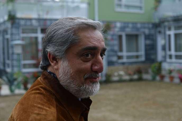Le candidat à la présidence afghane Abdullah Abdullah (ici jeudi 24 avril à Kaboul) est arrivé en tête du premier tour.