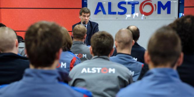 Le rôle d'Arnaud Montebourg (ici à Belfort en mars 2013) dans le choix du gouvernement sur Alstom a été salué par le premier ministre, Manuel Valls.