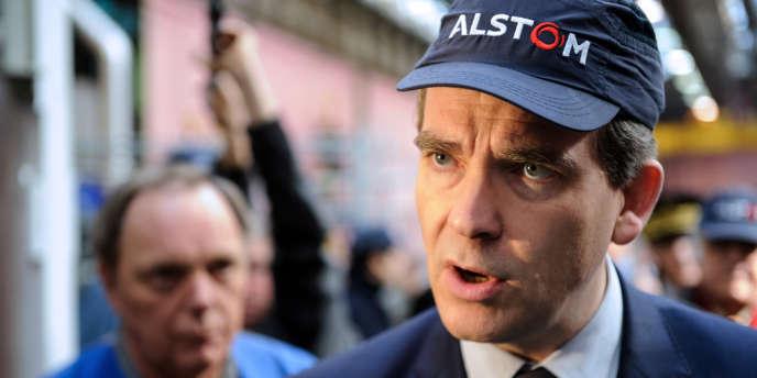 Arnaud Montebourg, chez Alstom à Belfort, le 22mars.