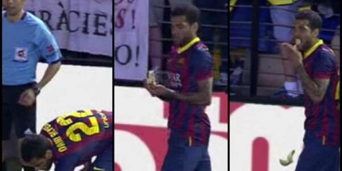 Après que des « supporteurs » de Villarreal lui ont lancé une banane, le défenseur du FC Barcelone l'a tout simplement mangée avant de tirer son corner.
