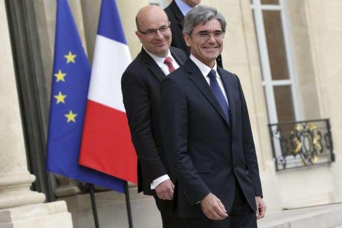 Joe Kaeser, le PDG de Siemens, et Christophe de Maistre, PDG de Siemens en France à l'Elysée, le 28 avril 2014.
