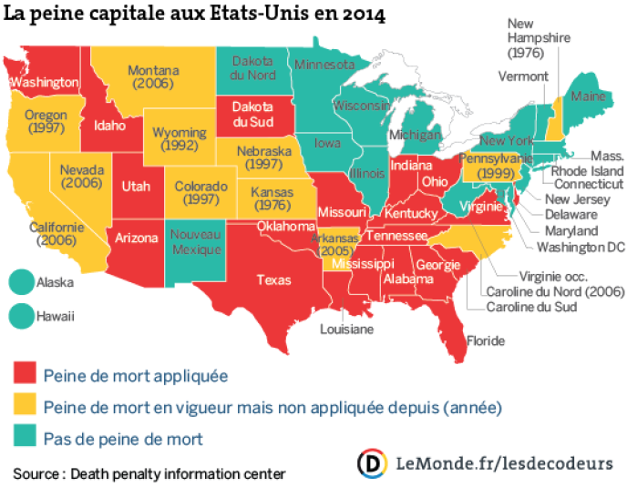 Vingt Etats pratiquent encore la peine de mort aux Etats-Unis.