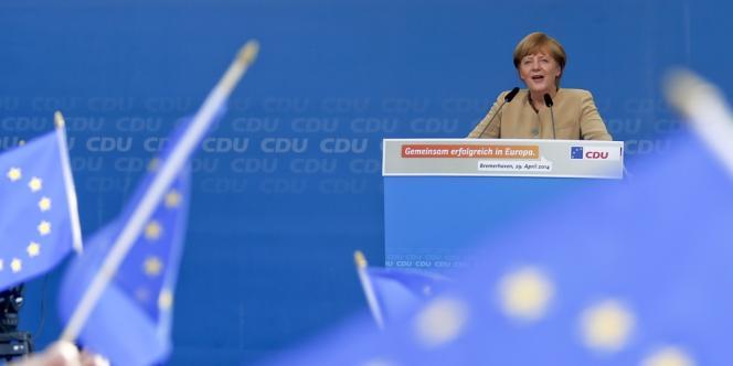 La chancelière allemande Angela Merkel, en meeting à Bremerhaven, le 29 avril.