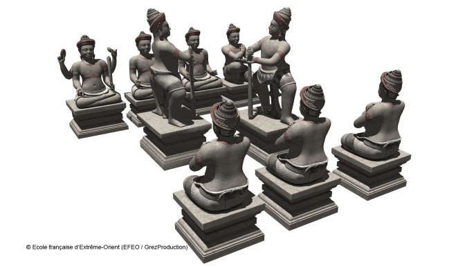 Reconstitution du groupe sculpté de neuf statues monumentales avec le
