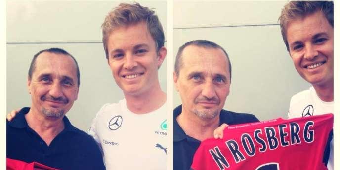 Nico Rosberg (à droite) et Vincent, fan de l'En Avant de Guingamp et responsable du «motorhome» du pilote allemand de l'écurie Mercedes.
