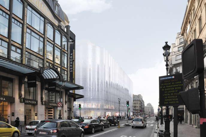 Les architectes ont imaginé un voile de verre pour recouvrir le nouvel édifice du côté de la rue de Rivoli.