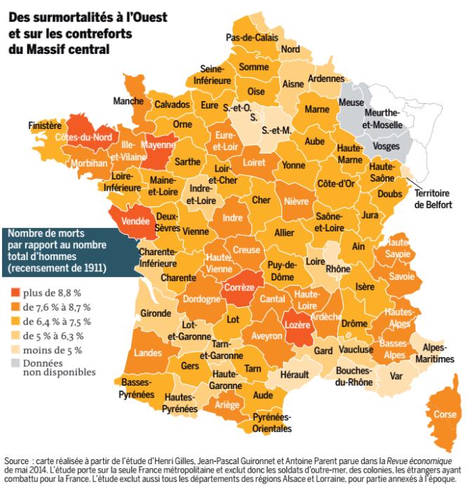 Des surmortalités à l'Ouest et sur les contreforts du Massif central. Carte réalisé à partir de l'étude d'Henri Gilles, Jean-Pascal Guironnet et Antoine Parent parue dans la Revue économique de mai 2014.