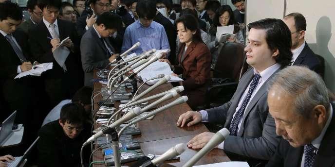 Mark Karpeles, le PDG de MtGox, lors d'une conférence de presse à Tokyo le28 février.