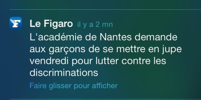 Alerte du Figaro envoyée mercredi 14 mai sur l'opération