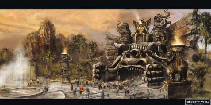 Vue d'artiste du projet d'entrée du parc d'attraction CineCittà World.
