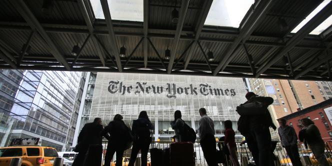 Le siège du New York Times, à New York. Un long mémo interne sur l'innovation dans le célèbre quotidien américain, peignant un tableau sombre de sa stratégie numérique, a fuité sur le site d'information Buzzfeed, jeudi 15 mai.
